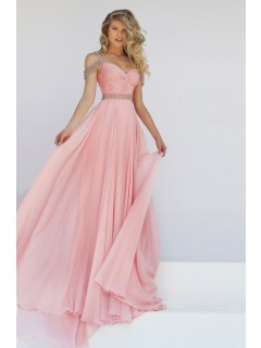 Charming Off The Shoulder Long Blush Pink Chiffon Flowing Prom Dress