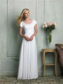 Classic A Line Scoop Neck Cap Sleeve Beaded Chiffon Wedding Dress Empire Waist