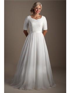 Classic A Line Short Sleeve Lace Chiffon Modest Wedding Dress With Sash