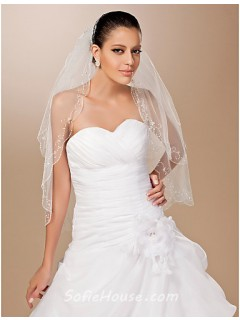 Classic Two Layer Tulle Beaded Wedding Bridal Veil