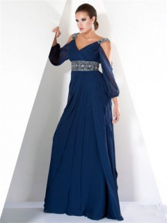 Classy A Line Off The Shoulder Long Navy Blue Women Evening Dress With Sleeve