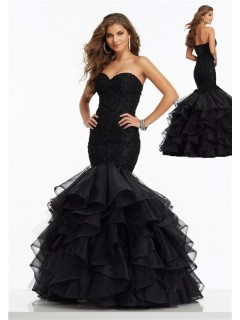 Classy Mermaid Corset Back Black Organza Ruffle Lace Beaded Prom Dress