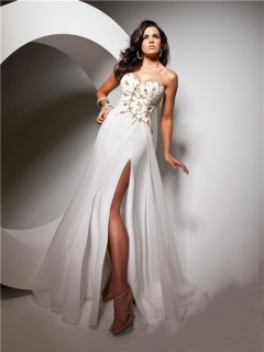 Couture Sweetheart Floor length White Chiffon Evening Prom Dress With Beading Slit