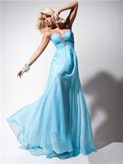 Cute A Line Princess Sweetheart Long Light Blue Chiffon Evening Prom Dress Beading
