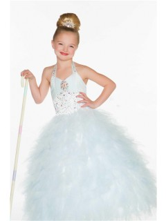 Cute Princess Halter White Puffy Tulle Beading Flower Girl Pageant Dress