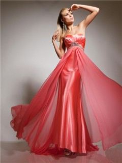 Cute Sweetheart Long Coral Chiffon Beading Prom Dress Empire Waist With Train