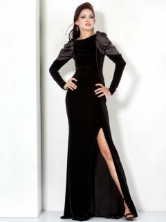 Designer Backless Long Black Velvet Winter Evening Wear Dress With Long Sleeve