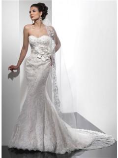 Designer Mermaid Sweetheart Beaded Lace Wedding Dress With Flowers Sash Low Back
