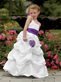 Designer Spaghetti Strap Floor Length White Taffeta Puffy Flower Girl Dress With Flowers Sash