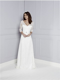 Destination Sheath V Neck And Back Long Sleeve Lace Vintage Wedding Dress With Belt Buttons