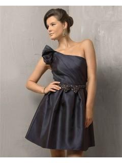 Elegant A Line One Shoulder Short/ Mini Black Satin Cocktail Evening Dress