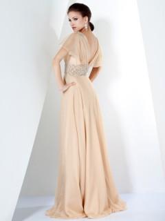 Elegant A Line V Neck Long Champagne Chiffon Beading Women Evening Dress