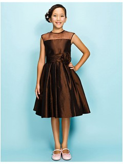 Elegant A line Princess Short Chocolate Brown Taffeta Junior Bridesmaid Dress
