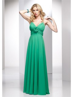 Elegant A line Spaghetti Strap Long Green Chiffon Summer Wedding Guest Dress