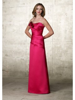 Elegant A line Strapless Long Hot Pink Satin Wedding Guest Dress