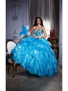 Elegant Ball Gown Blue Organza Quinceanera Dress With Embroidered Beading