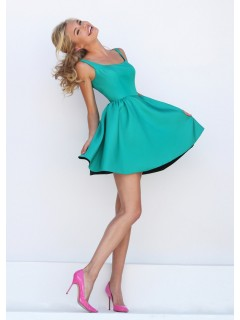 Elegant Ball Scoop Neck Short Jade Satin Party Prom Dress