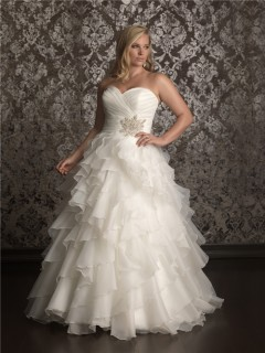 Elegant Ball gown sweetheart sweep train organza plus size wedding dress with ruffles