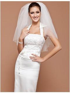 Elegant Classic Short Plain Tulle Wedding Bridal Veil