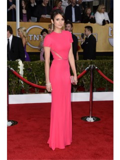 Elegant Mermaid Long Red Chiffon Nina Dobrev Oscar Red Carpet Celebrity Dress