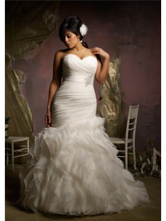 Elegant Mermaid Sweetheart Corset Back Organza Ruffle Plus Size Wedding Dress With Belt