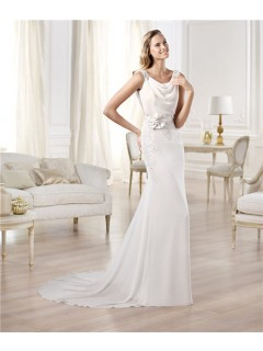 Elegant Sheath Bateau Neckline Open Back Beading Chiffon Wedding Dress