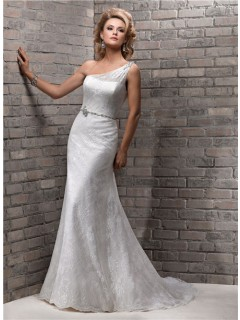 Elegant Sheath One Shoulder Lace Wedding Dress With Swarovski Crystal Belt