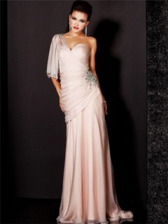 Elegant Sheath One Shoulder Long Light Pink Chiffon Beaded Evening Wear Dress