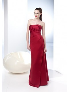 Elegant Sheath Strapless Long Red Silk Summer Wedding Guest Dress