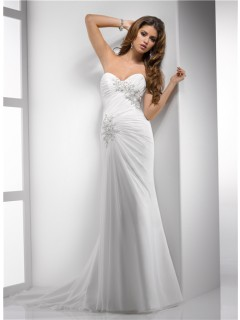 Elegant Sheath Sweetheart Destination Beach Chiffon Wedding Dress With Lace Beading Corset Back