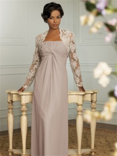Elegant floor length light brown chiffon mother of the bride dress with lace jacket