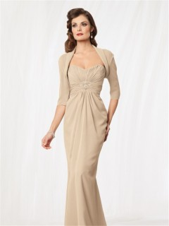 Elegant mermaid floor length champagne chiffon mother of the bride dress with jacket