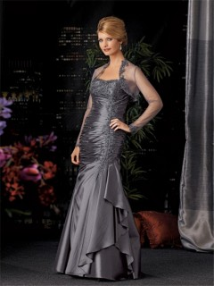 Elegant mermaid long grey taffeta mother of the bride dress with jacket