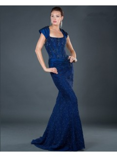Elegant mermaid long royal blue beaded lace evening dress with straps