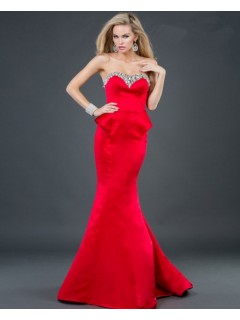 Elegant mermaid sweetheart floor length red beading satin evening dress