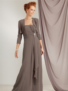 Elegant strapless floor length grey chiffon mother of the bride dress with jacket