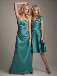 Elegant sweetheart floor length long jade silk bridesmaid dress with beading