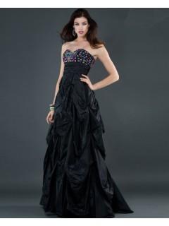 Empire sweetheart long black beaded taffeta evening dress