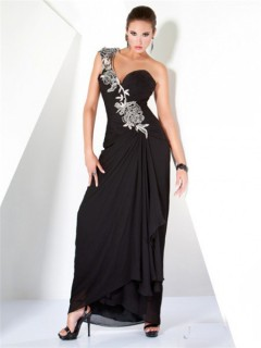 Fantastic One Shoulder Long Black Ruched Chiffon Floral Beaded Evening Wear Dress