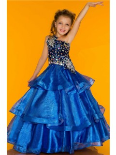 Fantastic One Shoulder Royal Blue Organza Tiered Beaded Crystal Flower Girl Pageant Dress