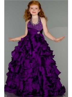 Fantasy Ball Halter Purple Ruffle Beaded Little Girl Pageant Dance Prom Dress