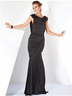 Fashion Mermaid Long Black Jersey Haute Couture Evening Dress With Low Back