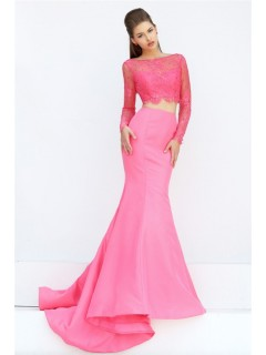 Fashion Mermaid Two Piece Long Sleeve Watermelon Lace Satin Prom Dress