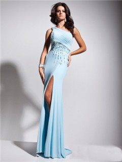 Fashion Sexy One Shoulder Backless Long Light Blue Prom Dress Beading Crystals