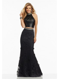 Fitted Halter Open Back Two Piece Black Leather Lace Prom Dress