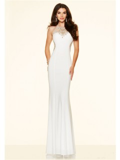 Fitted High Neck Open Back Long White Jersey Gold Beaded Evening Prom Dress
