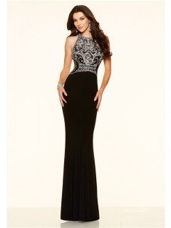 Fitted Mermaid Backless Long Black Jersey Beaded Prom Dress