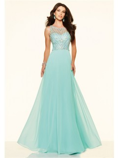 Flowing A Line Open Neck Long Mint Green Chiffon Beaded Prom Dress