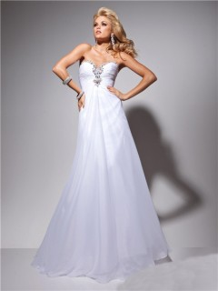 Formal A Line Princess Sweetheart White Chiffon Evening Prom Dress Beading