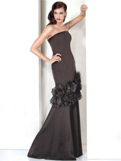 Formal Mermaid Strapless Long Black Evening Wear Dress With Flowers